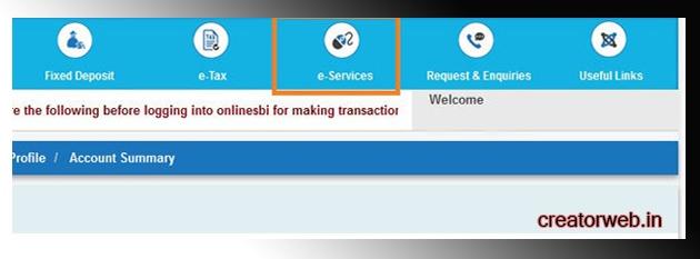 online sbi login e services