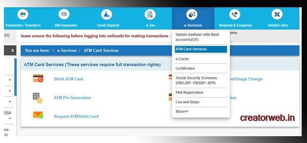 online sbi login e services atm card service